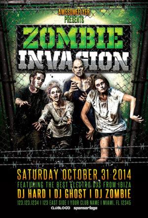 Zombie Invasion Halloween Party Flyer