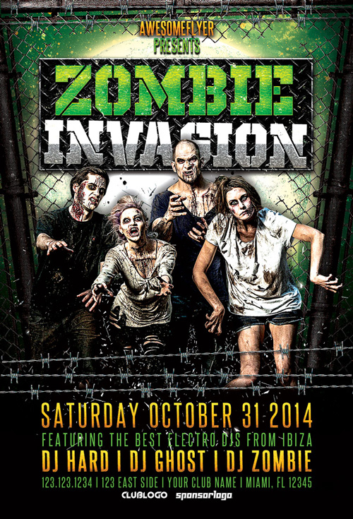 Zombie Invasion Halloween Party Flyer | Awesomeflyer.Com
