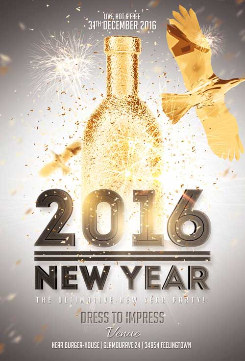 New Year Gold Vol  Flyer Template  AwesomeflyerCom