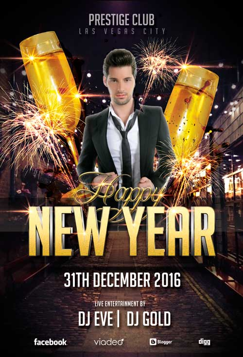 happy new year party flyer template awesomeflyer