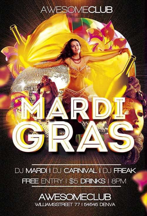 Mardi Gras Flyer Template Vol 1