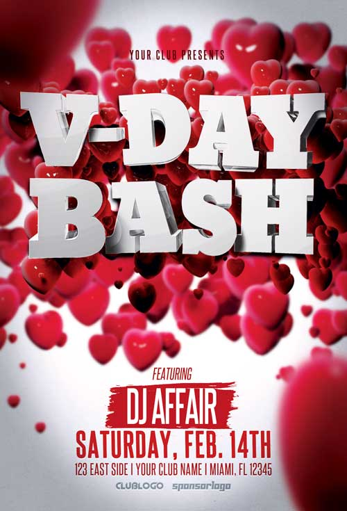 valentine s day party flyer template awesomeflyer com