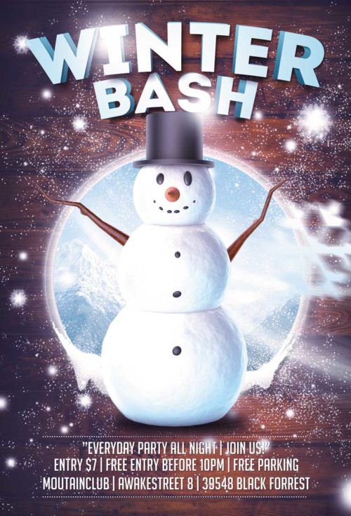 Winter Snowman Bash Flyer Template
