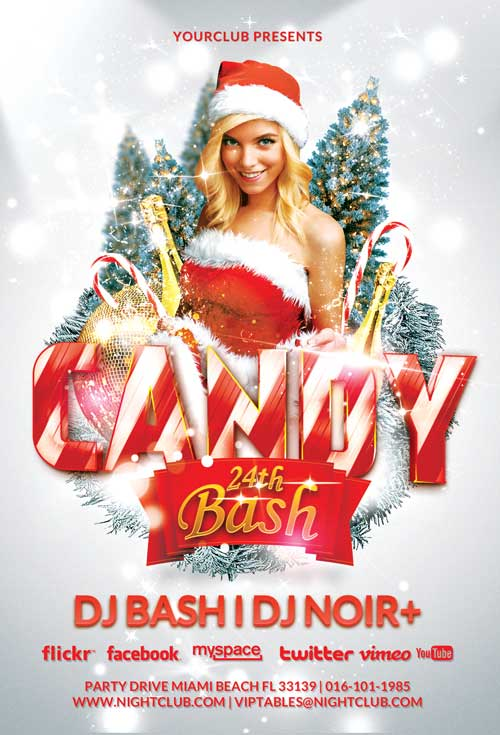 candy christmas bash psd flyer template awesomeflyer