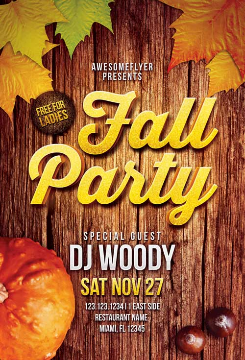 Download The Fall Party Flyer Template For Photoshop  AwesomeflyerCom