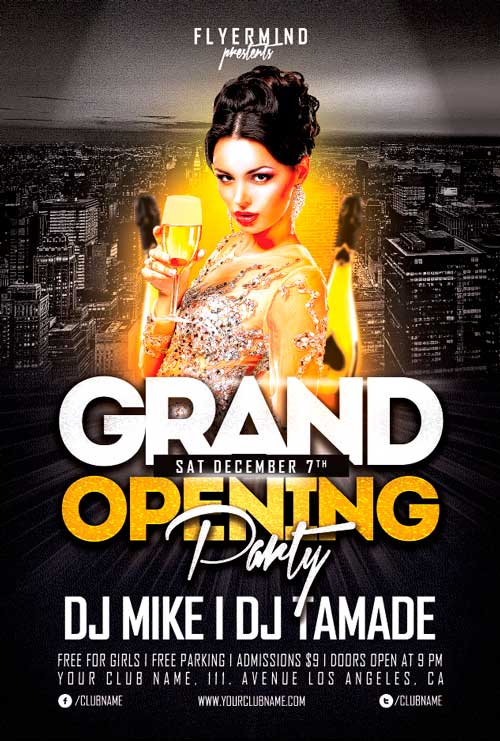 Free Grand Opening Party Flyer Template Vol  AwesomeflyerCom
