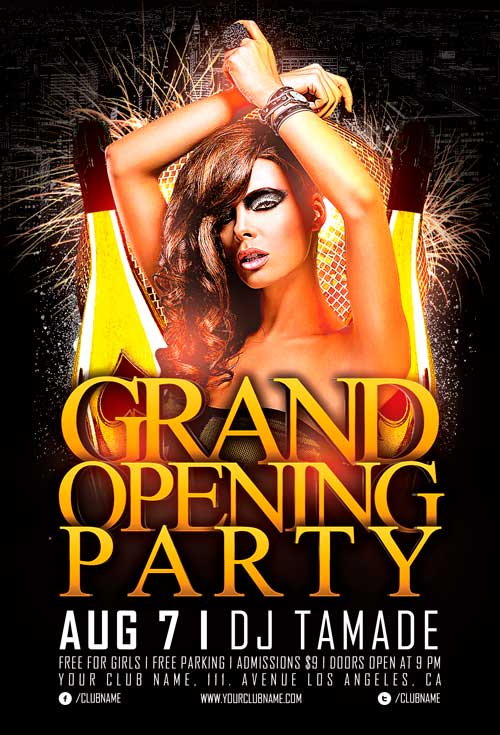 Free grand opening party flyer template vol 2 for Free club flyer templates