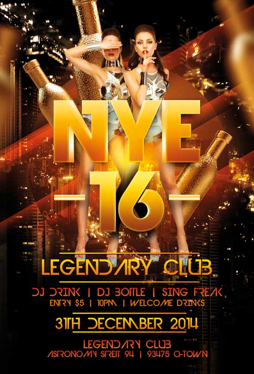 legendary new years eve flyer
