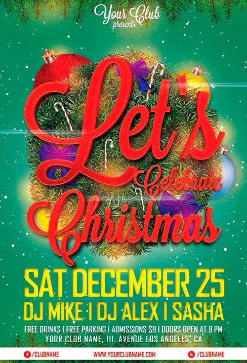 Let's Celebrate Christmas PSD Flyer Template