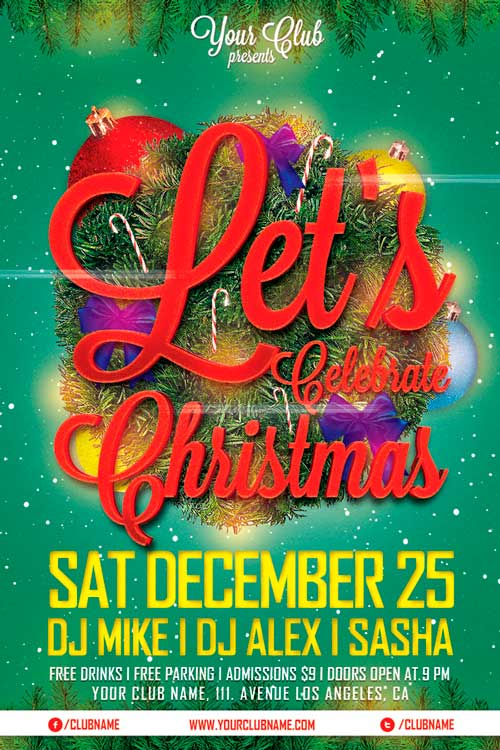 Lets Celebrate Christmas Flyer Template Awesomeflyer