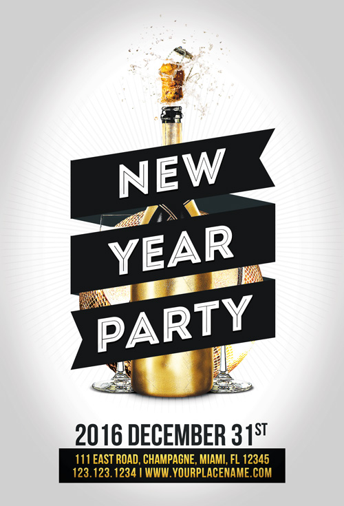 Minimal New Year Party Flyer Template