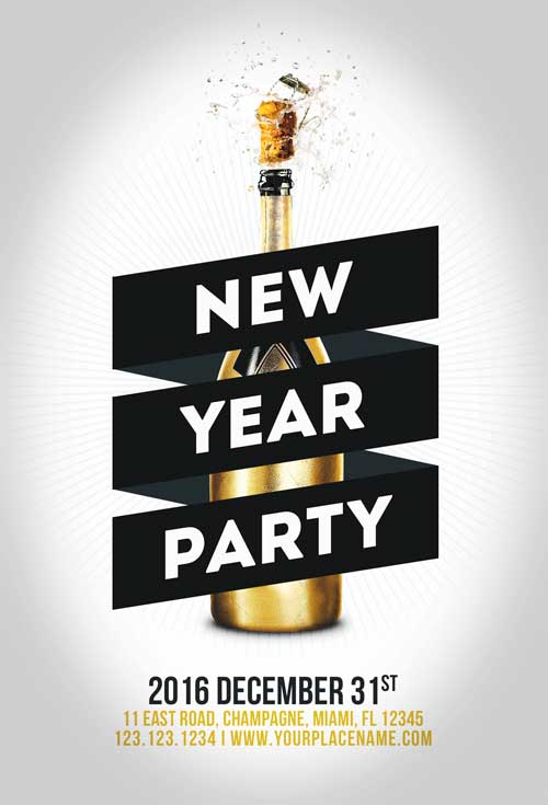 Minimal New Year Party Flyer Template | Awesomeflyer.Com