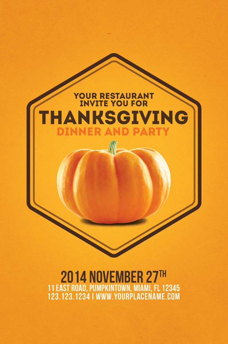 Minimal Thanksgiving Flyer Template Vol 1