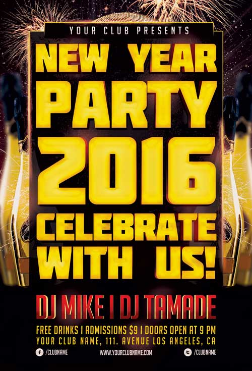 Download The Psd New Year Party Flyer Template  AwesomeflyerCom