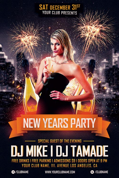 New Years Party Flyer Template  AwesomeflyerCom