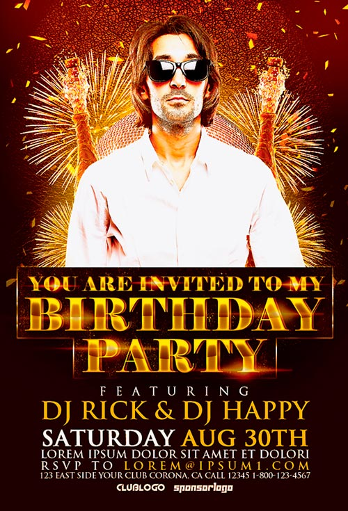 Birthday Party Flyer Template  AwesomeflyerCom