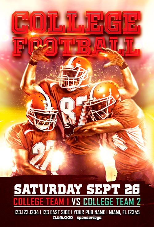 College Football Flyer Template Vol. 1 For Photoshop