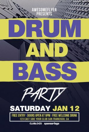 Free Drum and Bass Party Flyer Template