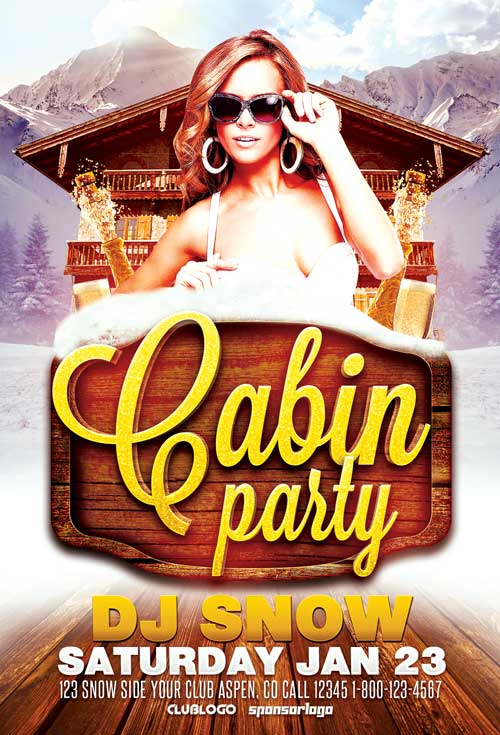 Winter-Cabin-Party-Flyer-Template-Awesomeflyer-com-500