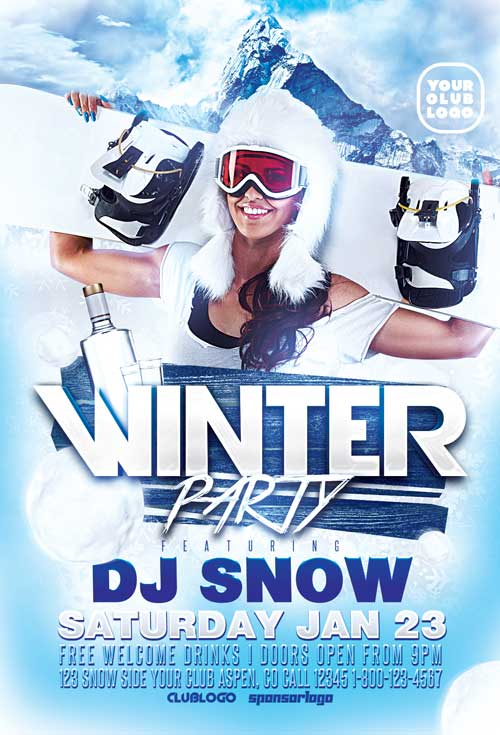 Download Free Psd Winter Party Flyer Template | Awesomeflyer.Com