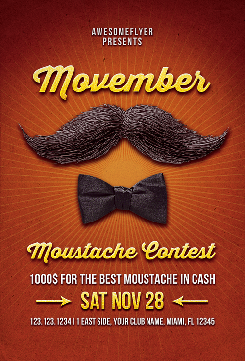 Free Movember Mustache Contest Flyer Template Awesomeflyer