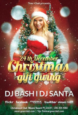Free Christmas Gift Giving Party Flyer Template