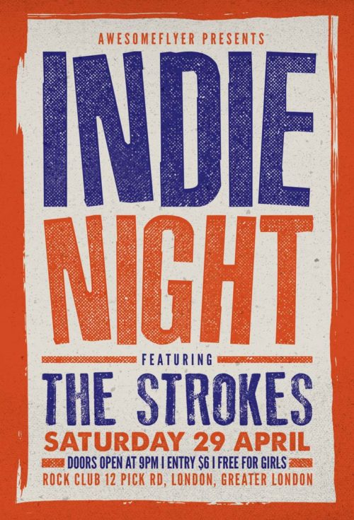 Free Indie Rock Concert Flyer Template