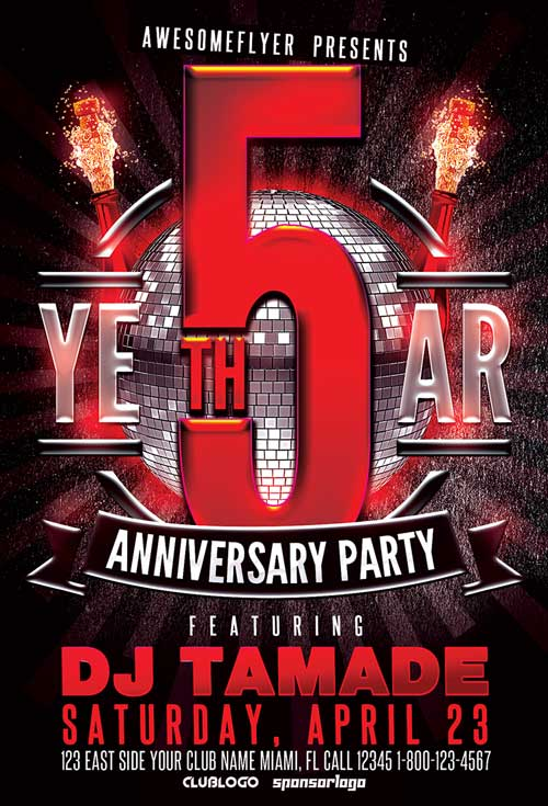 Anniversary Flyer Template | Awesomeflyer.Com