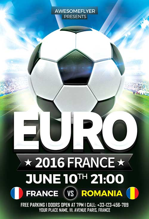 Download Euro Soccer Flyer Template For Photoshop | Awesomeflyer.Com