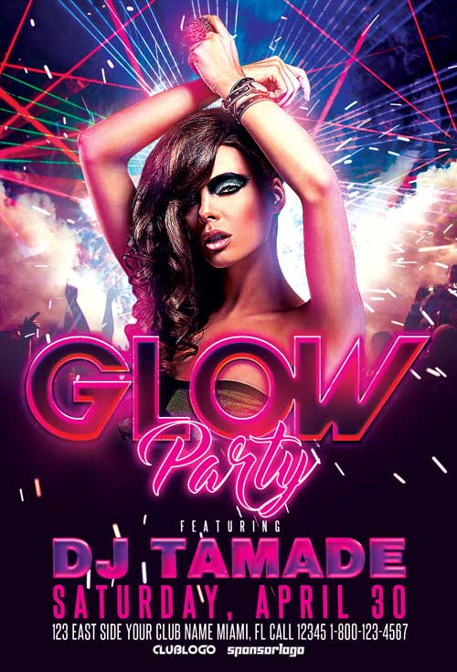 Glow Party And Club Flyer Template  AwesomeflyerCom