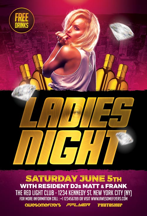 Ladies Night Flyer Template Vol  Download For Photoshop