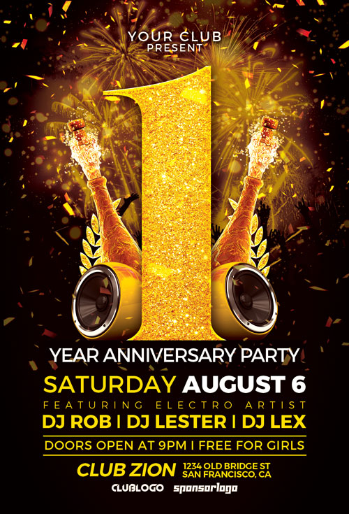 supérieur Anniversary-Party-Flyer-Template-Awesomeflyer-com