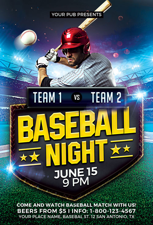 Baseball Match Flyer Template  AwesomeflyerCom