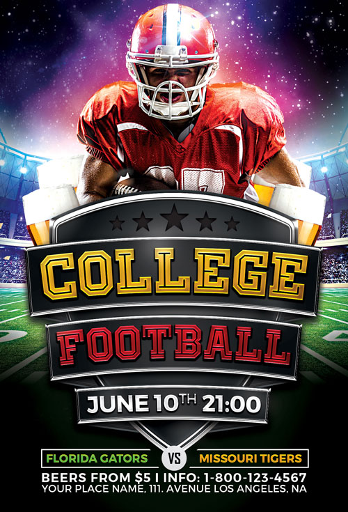 College Football Flyer Template Vol. 2 For Photoshop