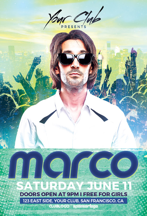 DJ Marco Club Party Flyer Template