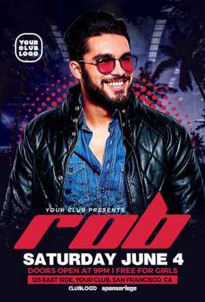 DJ Rob Club Party Flyer Template
