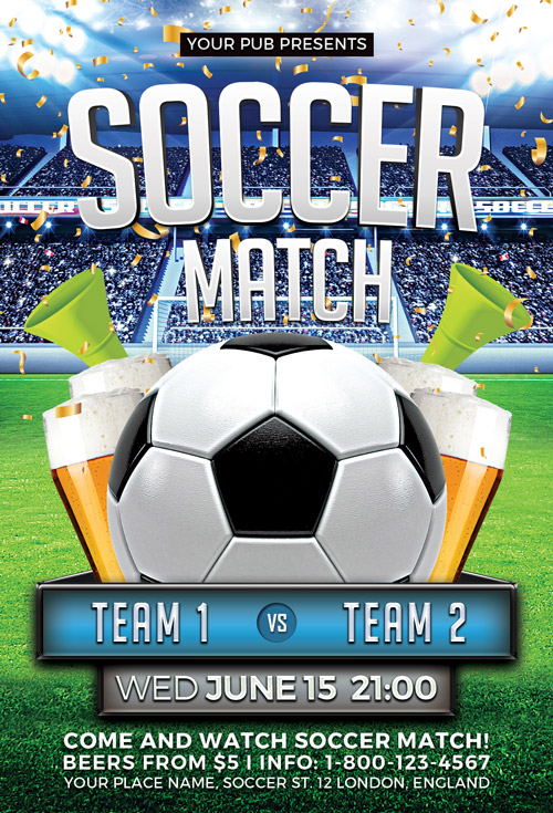 Download The Soccer Match Flyer Template  AwesomeflyerCom