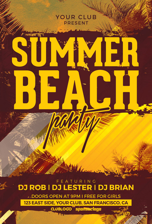 Download The Summer Beach Party Flyer Template | Awesomeflyer.Com