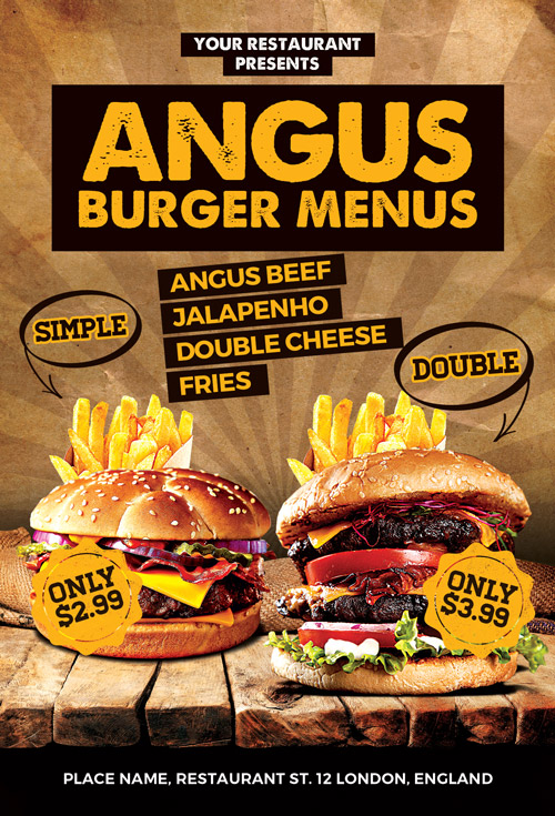 Burgers Offer Food Menu Flyer Template Photoshop  AwesomeflyerCom