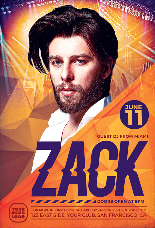 Download The Dj Zack Club Flyer Template  AwesomeflyerCom