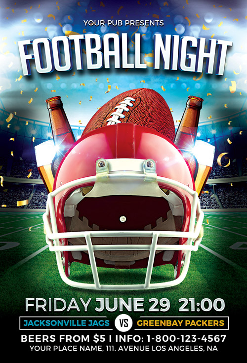download the football night flyer template