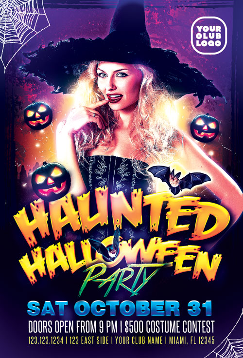 Haunted Halloween Costume Party Flyer Template Awesomeflyercom - Free halloween flyer templates