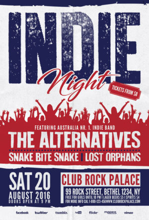 Indie Rock Alternative Party Flyer Template