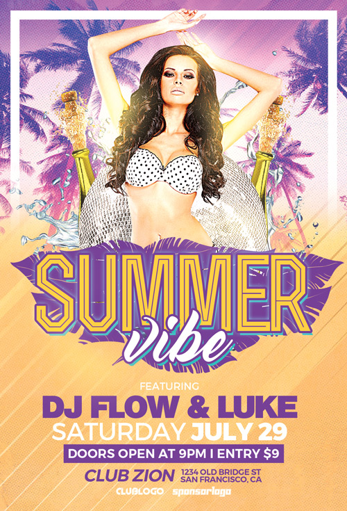 Download The Summer Vibe Party Flyer Template  AwesomeflyerCom