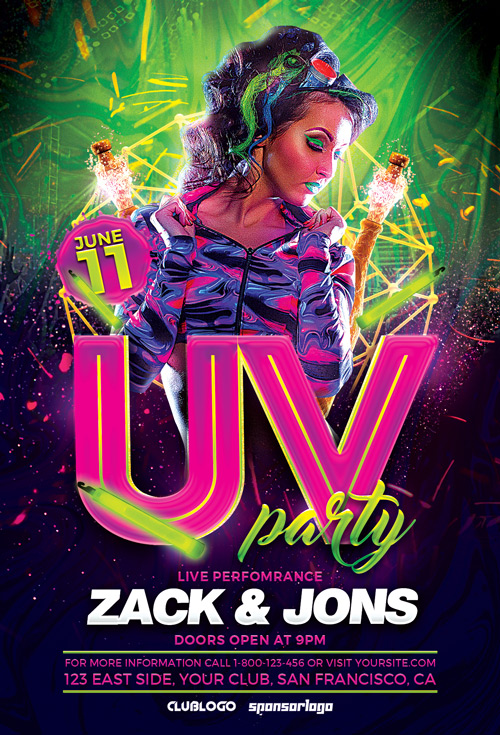 Download The UV Party Flyer Template