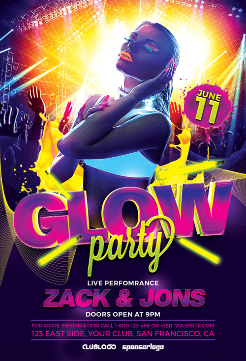 download the uv glow party flyer template