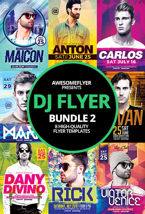 DJ Flyer Template Bundle 2 for Photoshop