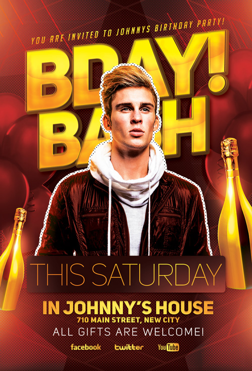 bday bash party flyer template for photoshop awesomeflyer com