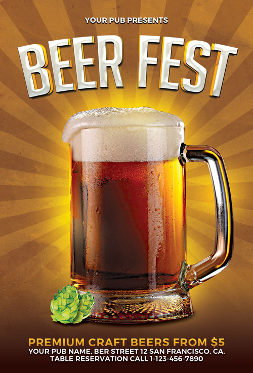 Beer Fest Flyer Template for Photoshop