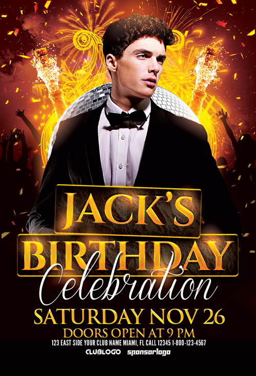 Birthday Celebration Flyer Template For Photoshop Awesomeflyer Com